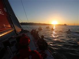 Leg 7 arrivals: Lisbon lights up for flying Dutchmen