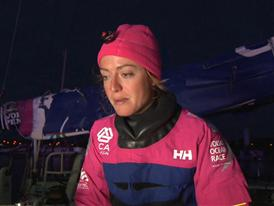 Leg 8 Win Interview in Spanish with Justine Mettraux (SUI)