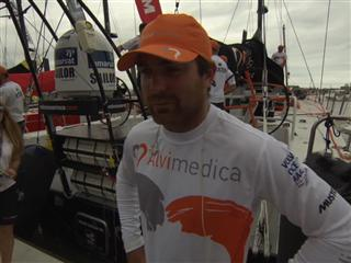 Leg 6 start dock Interview with Charlie Enright (USA)