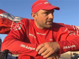 Leg 7 finish interviews with Xabi Fernandez (ESP)