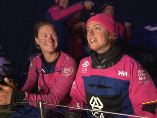 Leg 8 Win Interview with sisters Justine and Elodie Mettraux (SUI)