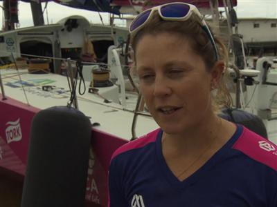 Leg 6 start dock Interviews with Samantha Davies (GBR)