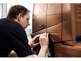 Clay sculptor Paul Davies creates a clay model of the new Volvo FH