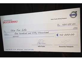 The cheque to Star For Life from Volvo Trucks and Ducournau Transports.
