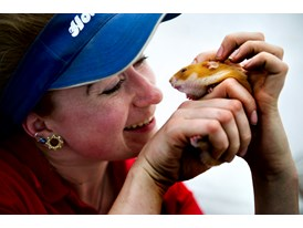 Animal trainer Grace Dickinson with Charlie, the hamster
