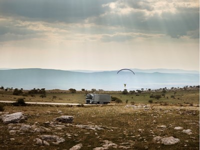 Volvo FH and paraglider's scenic ride in the Dinaric Alps