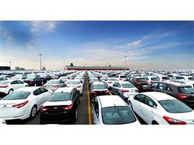 Kia cars await shipment at Pyeongtaek Port