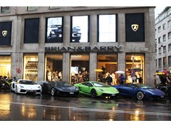 Automobili Lamborghini Spring/Summer 2012 Collection and world premiere of the BMC impec Automobili Lamborghini Edition racing bicycle at the Brian&Barry flagship store in Milan