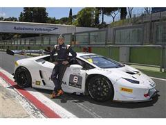 The MotoGP World Champion Casey Stoner on track in Vallelunga with the Lamborghini Huracán LP 620-2 Super Trofeo