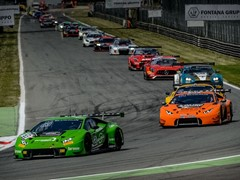 The Lamborghini Huracán GT3 wins the first round of the Blancpain GT Series Endurance Cup at Monza