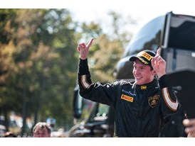Race winner Andrew Palmer celebrating maiden victory in the Lamborghini Blancpain Super Trofeo Series
