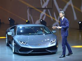 Stephan Winkelmann and Lamborghini Huracán LP 610-4 at Group Night 2014 in Beijing