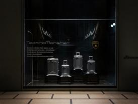 Automobili Lamborghini luggage by Tecknomonster at La Rinascente Milano by night
