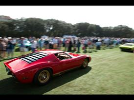 A Red Miura Parades at the Concours D'elegance