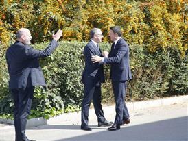 S. Domenicali welcomes M. Renzi at Automobili Lamborghini