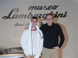 Justin Bieber and Stefano Domenicali at the Lamborghini Museum