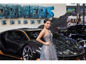 Isabela Moner and the Lamborghini Centenario at the premiere of Transformers, The Last Knight