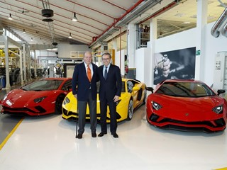 Juan Carlos I of Bourbon is welcomed in Lamborghini by Stefano Domenicali, Chairman and CEO
