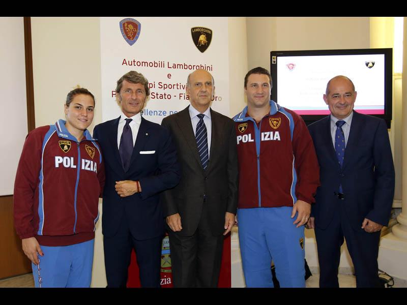 Marta Grimaldi, Stephan Winkelmann, Alessandro Pansa, Roberto Cammarelle, and Francesco Montini