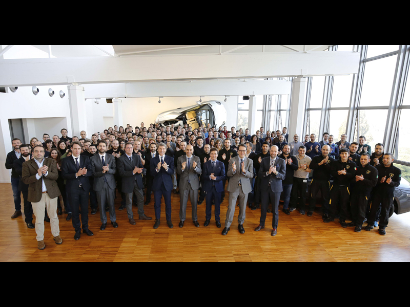 The New 150 Lamborghini Employees Together with Pres. & Ceo S. Winkelmann and the Management Board