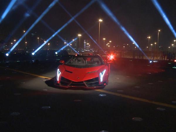 Lamborghini World Premiere of Veneno Roadster - €3.3 Million Super Sports Car Makes Public Debut on Italian Aircraft Car