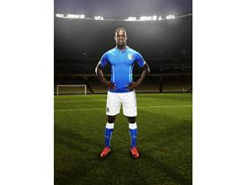 Mario Balotelli in the 2014 Italy Home Kit that features PUMA's PWR ACTV Technology