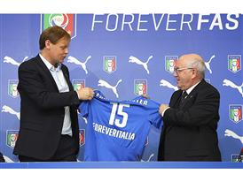PUMA Chief Executive Officer Björn Gulden and President for the FIGC Carlo Tavecchio confirm new partnership