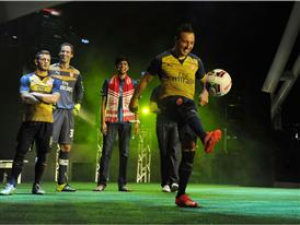 Santi Cazorla shows off his tricks at the Away Kit Launch in Singapore