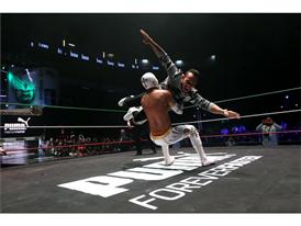 Lewis Hamilton shows wrestling skills with Lucha Libre star Mistico at PUMA event in Mexico City