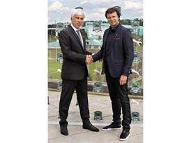 Krasnodar, Russia - 19 May 2016: Sergey Morschakin Head of Sales of PUMA Russia and Vladimir Khashig CEO of Krasnodar FC