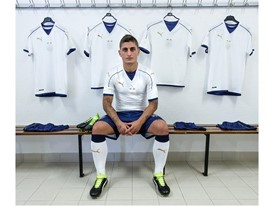 Marco Verratti wears the new PUMA 2016/2017 Italy Away Kit