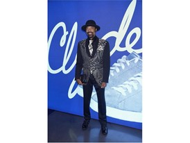 Walt 'Clyde' Frazier poses wearing PUMA Clyde 'Wraith' at the PUMA x Foot Locker Event