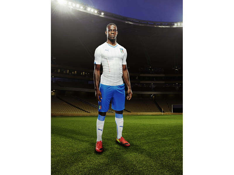 Mario Balotelli in the 2014 Italy Away Kit that features PUMA's PWR ACTV Technology