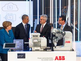 Obama and Merkel inspired by ABB's ground-breaking digital technology at Hanover Fair