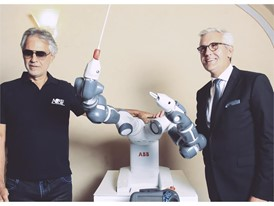 Andrea Bocelli, YuMi and ABB CEO Ulrich Spiesshofer before the concert