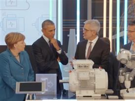 Obama and Merkel at ABB stand