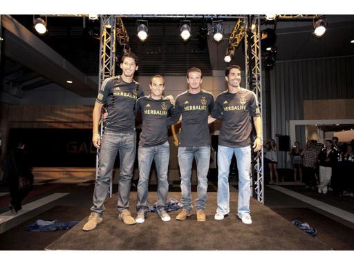 Omar Gonzalez, Landon Donovan, David Beckham and Juan Pablo Angel model the new adidas LA Galaxy uniform