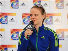adidas media centre press conference with Dayron Robles (CUBA 110m hurdles) and Silke Spiegelburg (GER Pole Vault)
