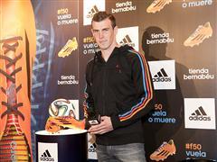 Gareth Bale ha presentado sus botas adidas adizero F50 en la tienda Bernabéu