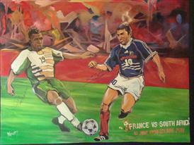 Own the moment: this painting of FIFA 2010 WORLD CUP adidas France vs SA Painting June 21 captures the spirit of the player and can be yours.