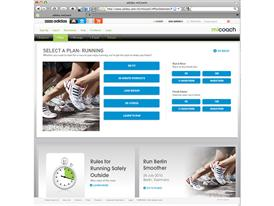 miCoach.com Running page