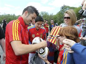 2010 FIFA World Cup Champion David Villa of Spain Signs Autographs at an adidas event at WeGotSoccer in Boston