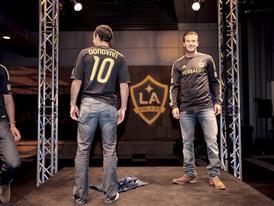 Landon Donovan and David Beckham show off the new adidas LA Galaxy uniform