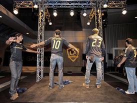 Omar Gonzalez, Landon Donovan, David Beckham, Juan Pablo Angel unveil the new adidas LA Galaxy uniform