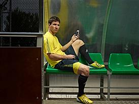 Lionel Messi playing with the adizero f50 mobile app