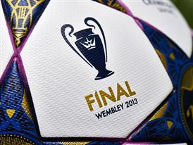Close up of UCL Trophy graphic on the adidas Wembley Finale ball