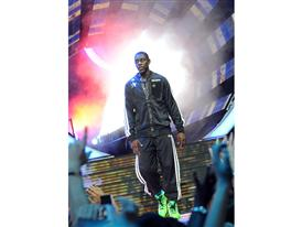 Jrue Holiday of Philadelphis 76ers during NBA All-Star Game introductions