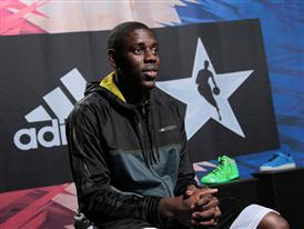 Jrue Holiday of Philadelphia 76ers at adidas VIP Suite 1