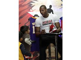 Dwight Howard of Los Angeles Lakers at adidas Store during NBA All-Star 2