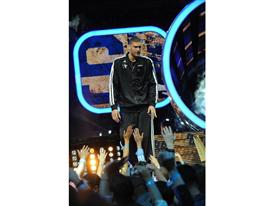 Brook Lopez of Brooklyn Nets at NBA All-Star Game introductions